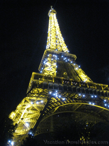 Paris, France - Eiffel Tower Night with Lights Flashing