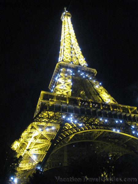Paris, France - Eiffel Tower Night with Lights Flashing