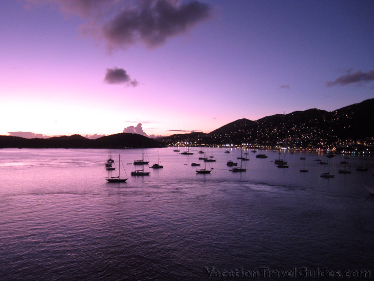 US Virgin Islands - St Thomas Havensight Harbor Long Bay Sunset with Boats